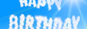 Happy birthday written in clouds